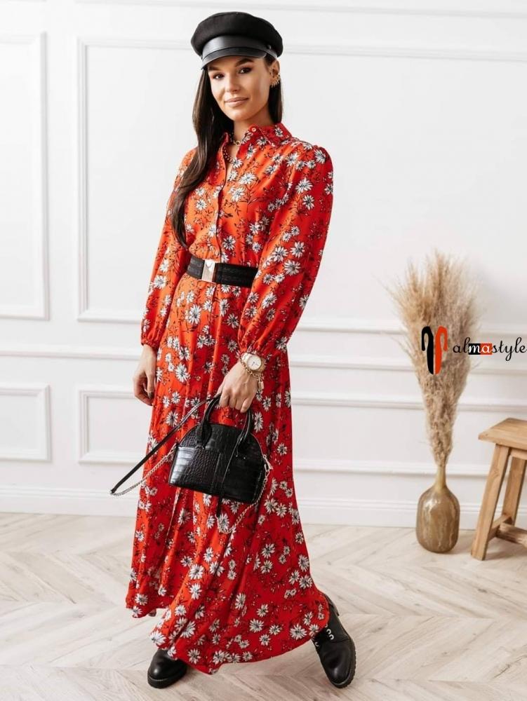 Платье красное с цветочным принтом, миди, длинный рукав