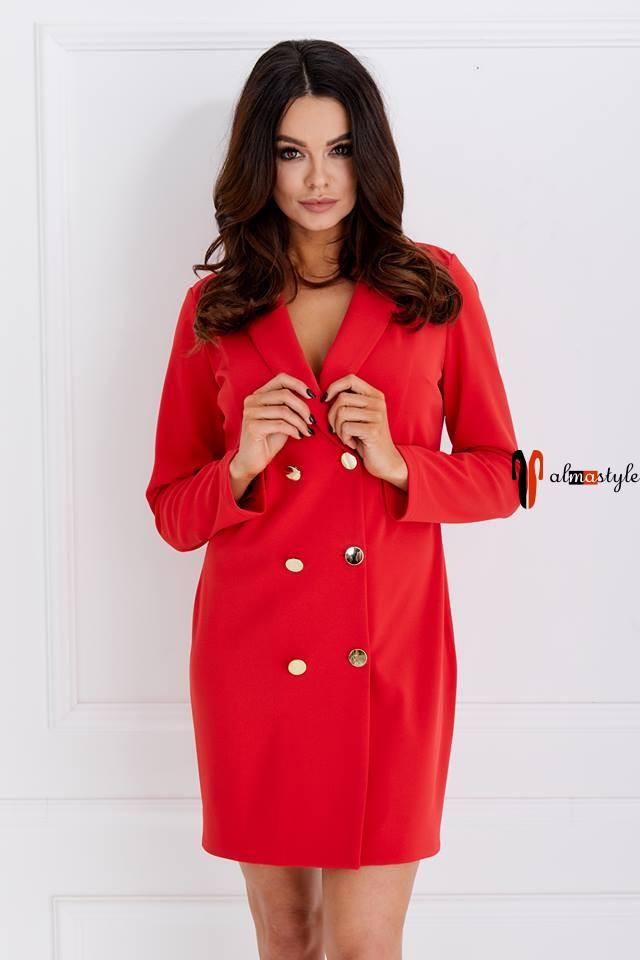 Платье жакет красный свободного кроя двубортный