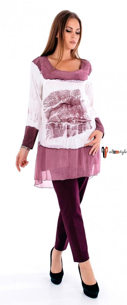 Блуза-туника из шелка с напуском