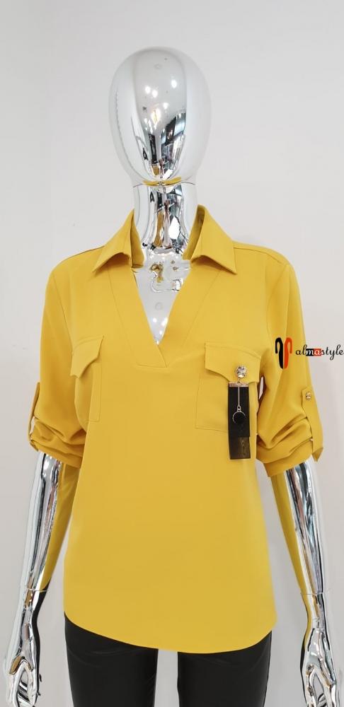 Блузка классическая желтая