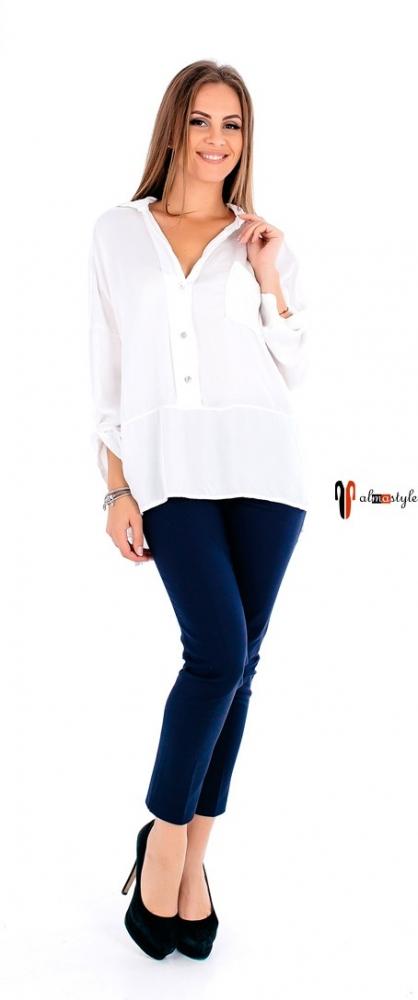 Блуза белая, длинная, из атласа, с пайетками, на пуговицах
