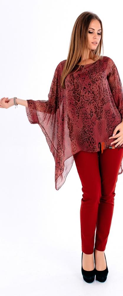 Бордовая блуза-туника из шелка