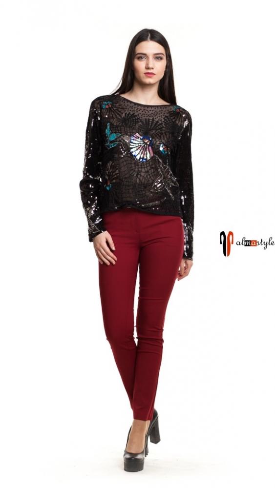 Черная блуза сетка с цветными пайетками