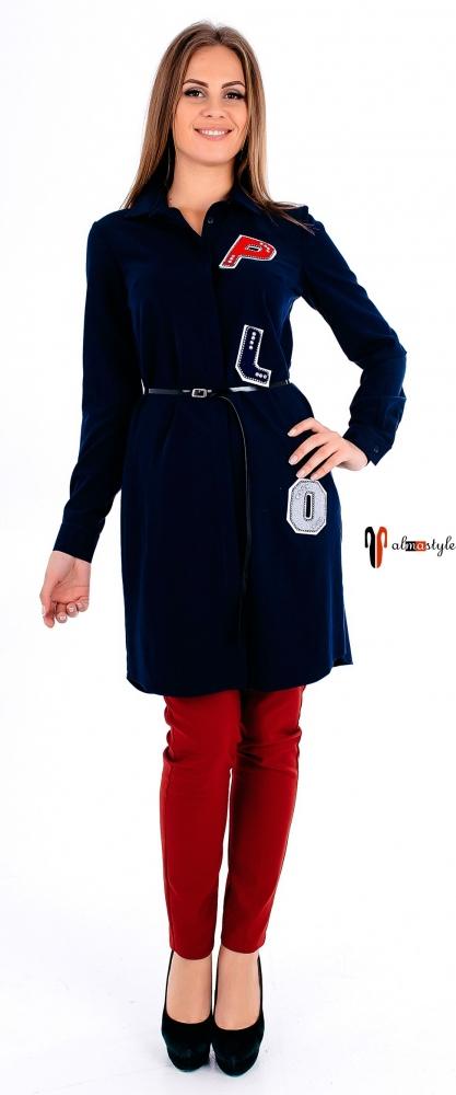 Синее платье-туника, сзади молния