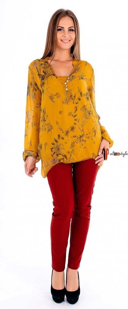 Блуза, двойка с майкой, на пуговицах, желтая