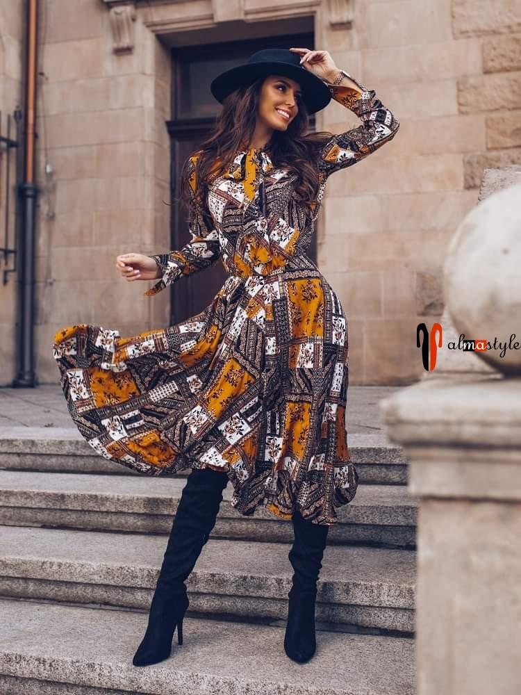 Платье рубашка миди цветы модных расцветок