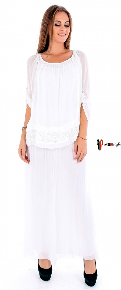 Стильная белая юбка в горох