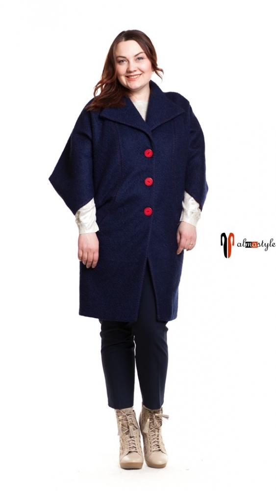 Пальто кокон в синем цвете