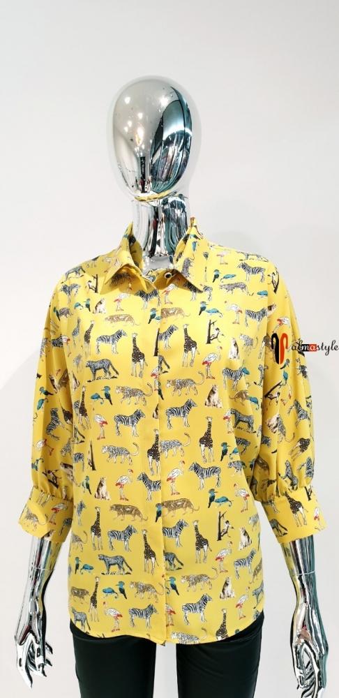 Блузка рубашка деловая желтая