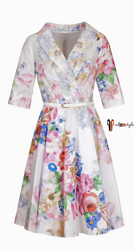 Белое платье, цветочный принт