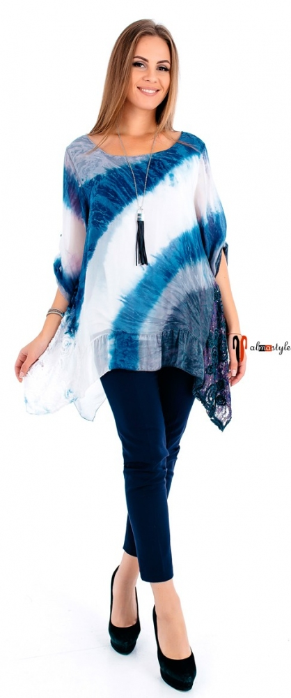 Блуза сине-белая, прямая, блуза-туника