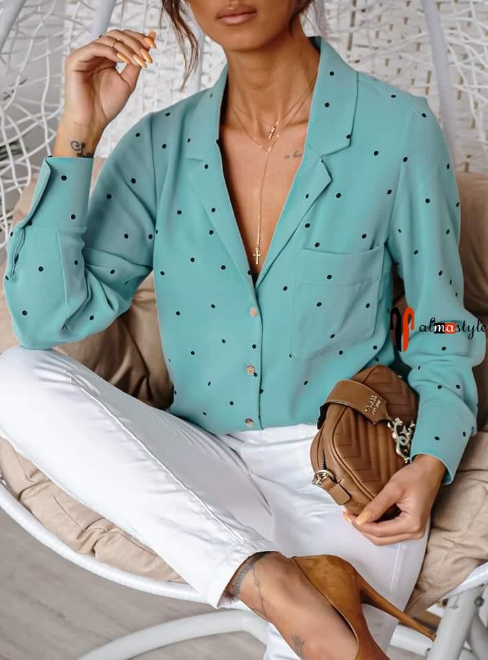 Блуза пижамного кроя прямая в горох