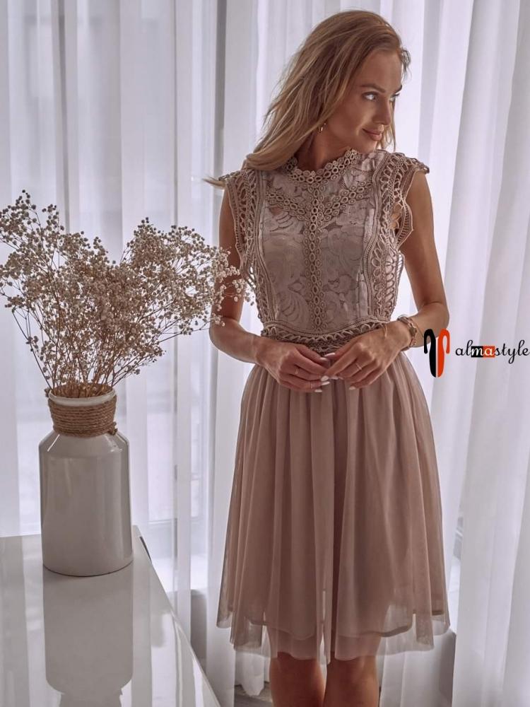 Платье коктейльное, бежевого цвета