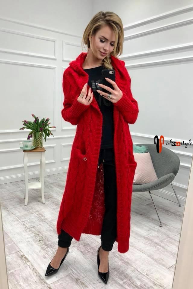 Кардиган вязанный, длинный, красный, стильный