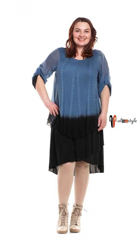 Шелковое платье с трикотажными вставками