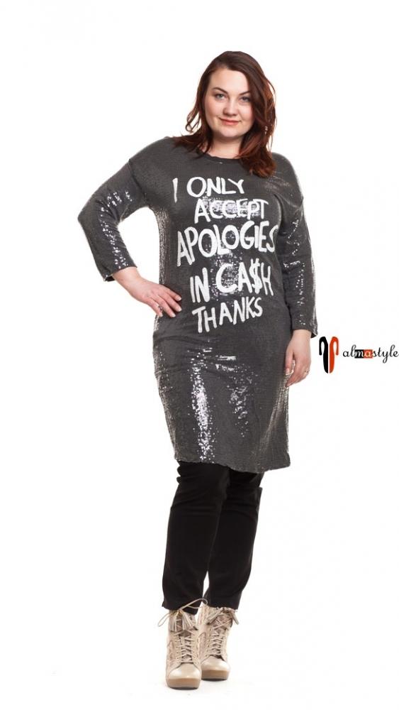 Туника, платье туника, серебряная, с пайетками