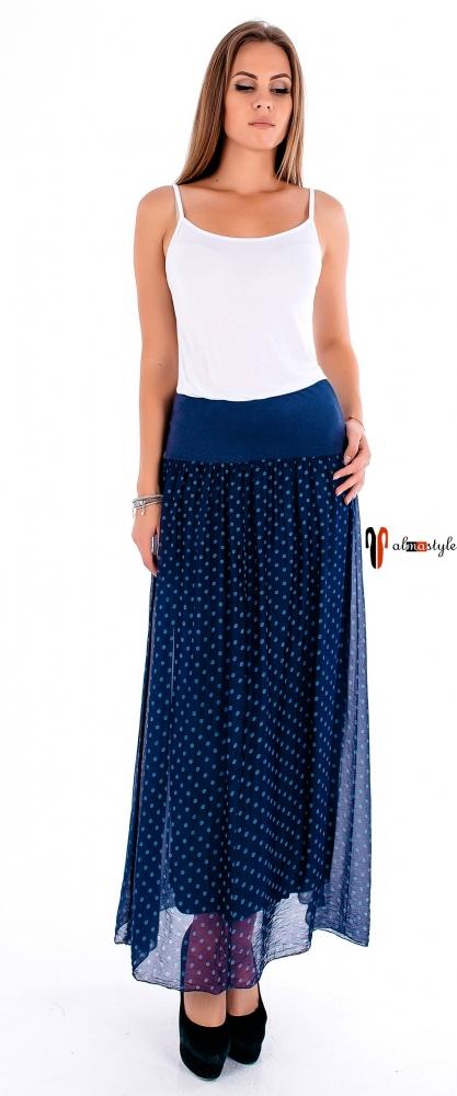 Синяя юбка макси-длины из шелка в горошек