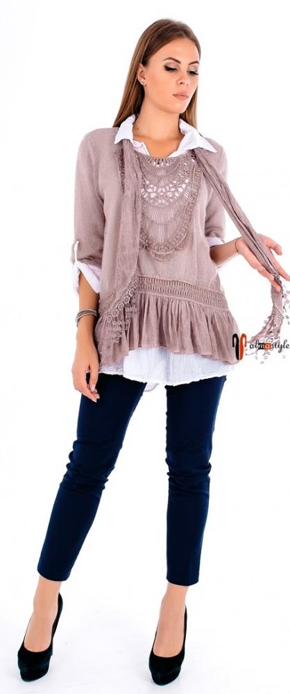 Свитер-джемпер-рубашка цвета пудры из мохера и кружева