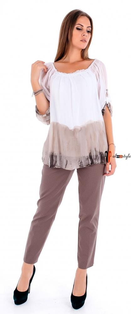 Шелковая двухслойная блуза бежевого цвета