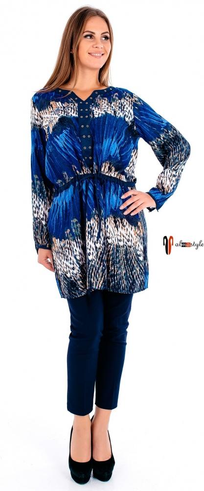 Синяя туника с напуском и длинным рукавом