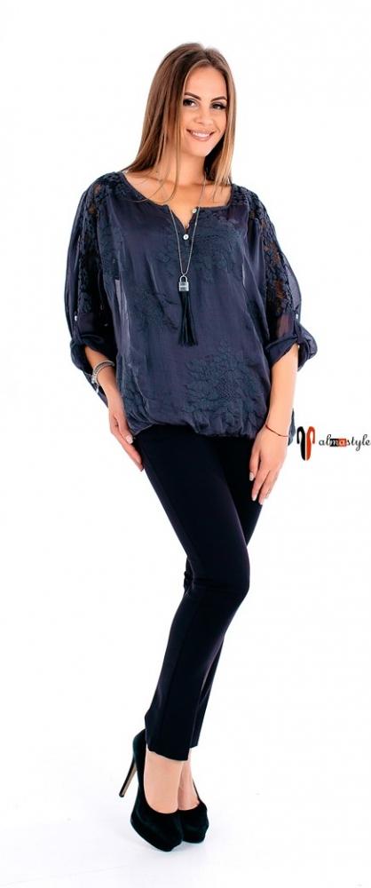 Блуза графит,на резинке, гипюр на спине, на рукавах, все на подкладе