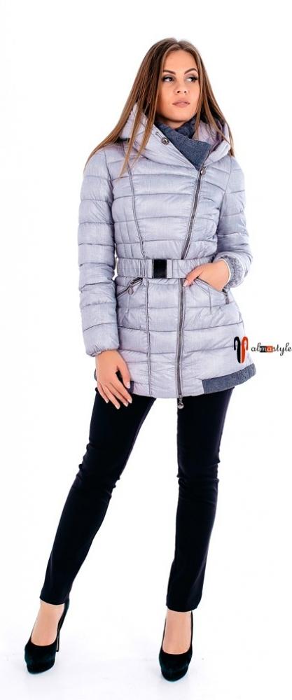 Серебристая куртка на синтепоне с капюшоном