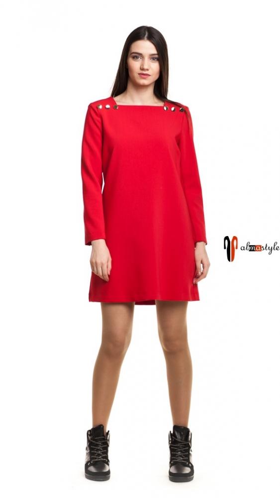 Платье красное, трапеция, короткое, золотистые пуговицы