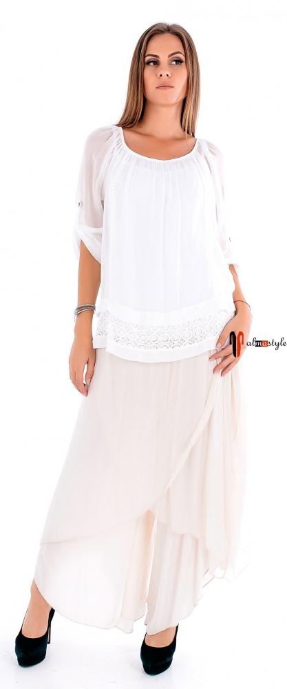 Многослойная юбка-брюки из шелка бежевого цвета