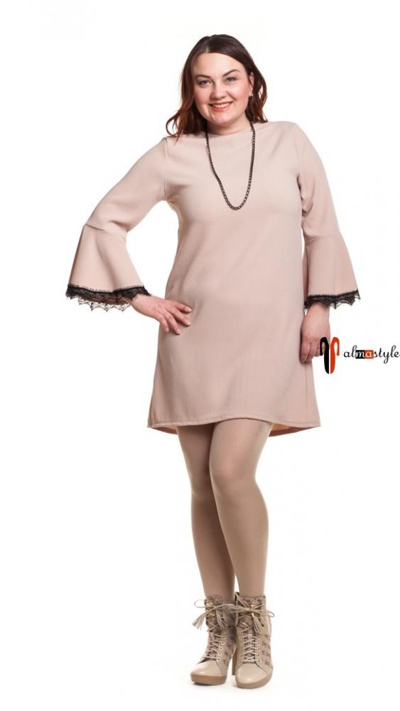 Короткое платье-трапеция цвета пудры