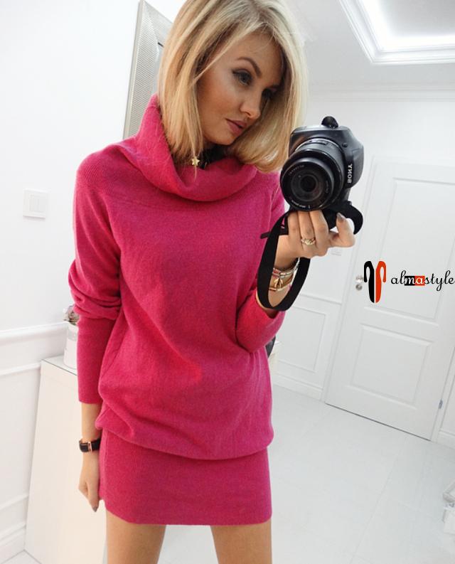 Платье-свитер цвета марсала из натуральной шерсти