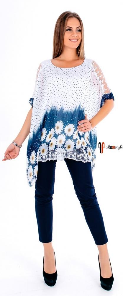 Шелковая блуза с принтом ромашки