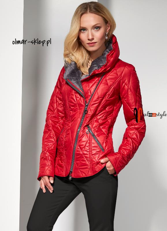 Куртка-косуха, короткая, красная