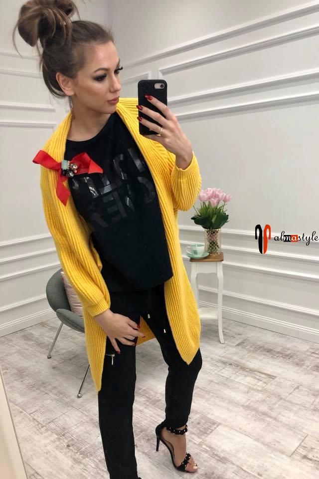 Кардиган желтый, длинный, узкий рукав