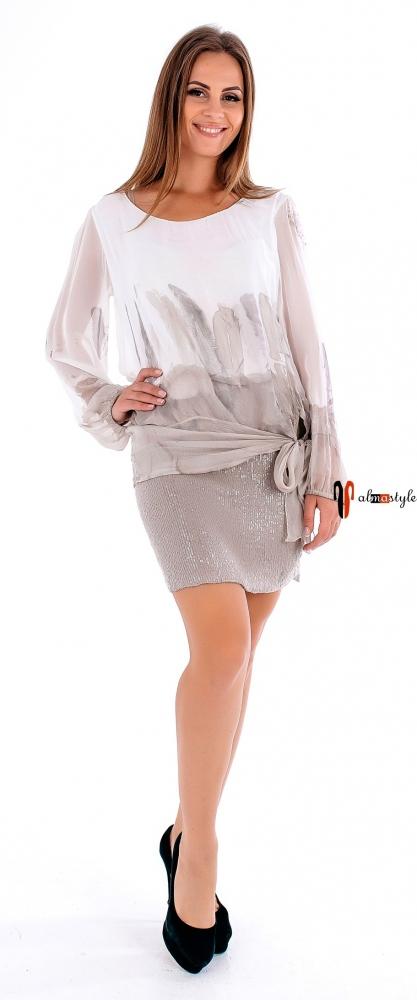 Бежевое платье-туника из шелка