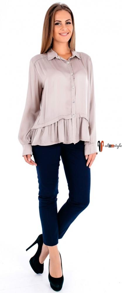 Блузка пудровая, из шелка