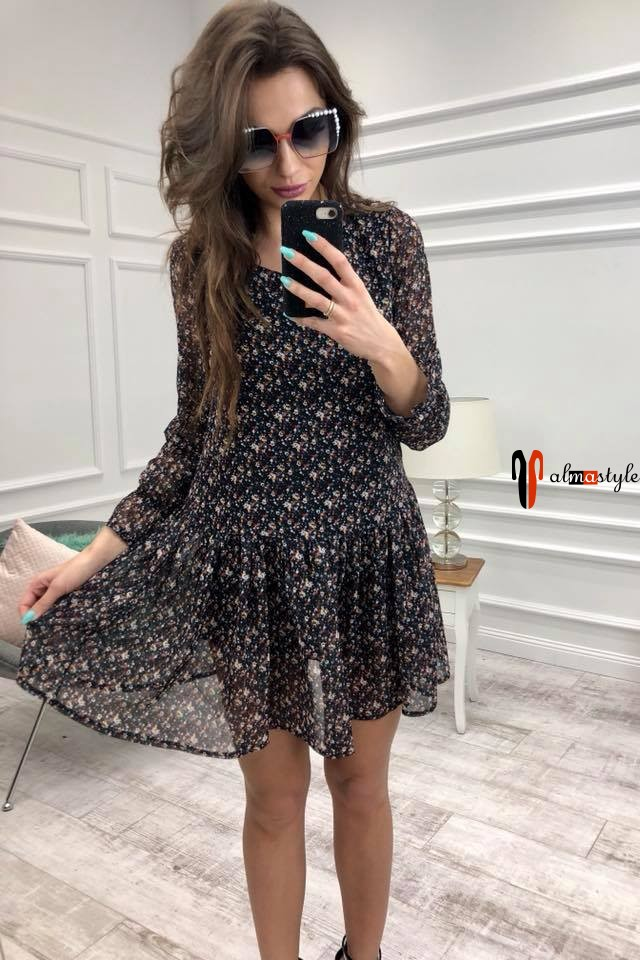 Платье легкое,  из шифона, короткое, стильное