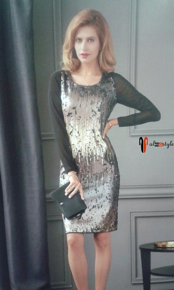 Вечернее черное платье с длинным рукавом, украшенное пайетками
