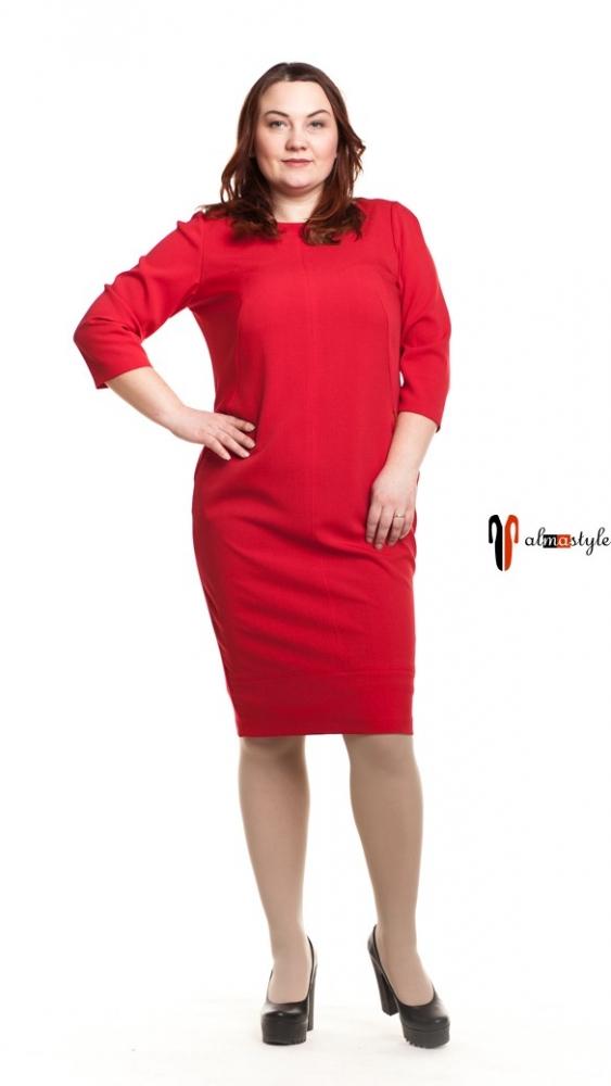 Прямое красное платье с молнией
