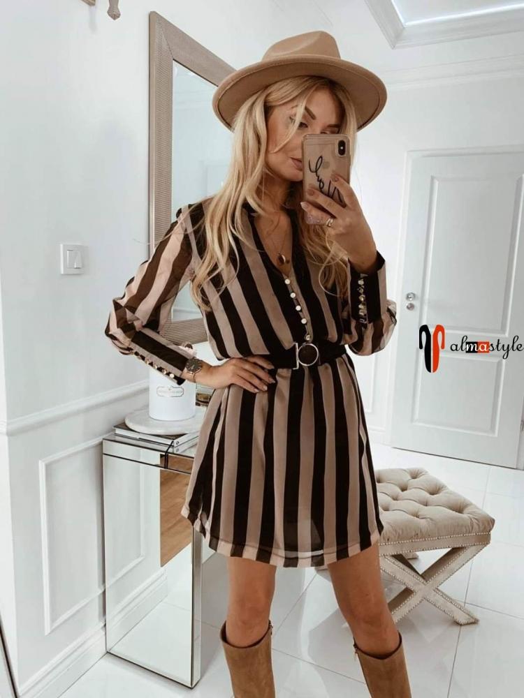 Платье шифоновое в полоску с рукавом