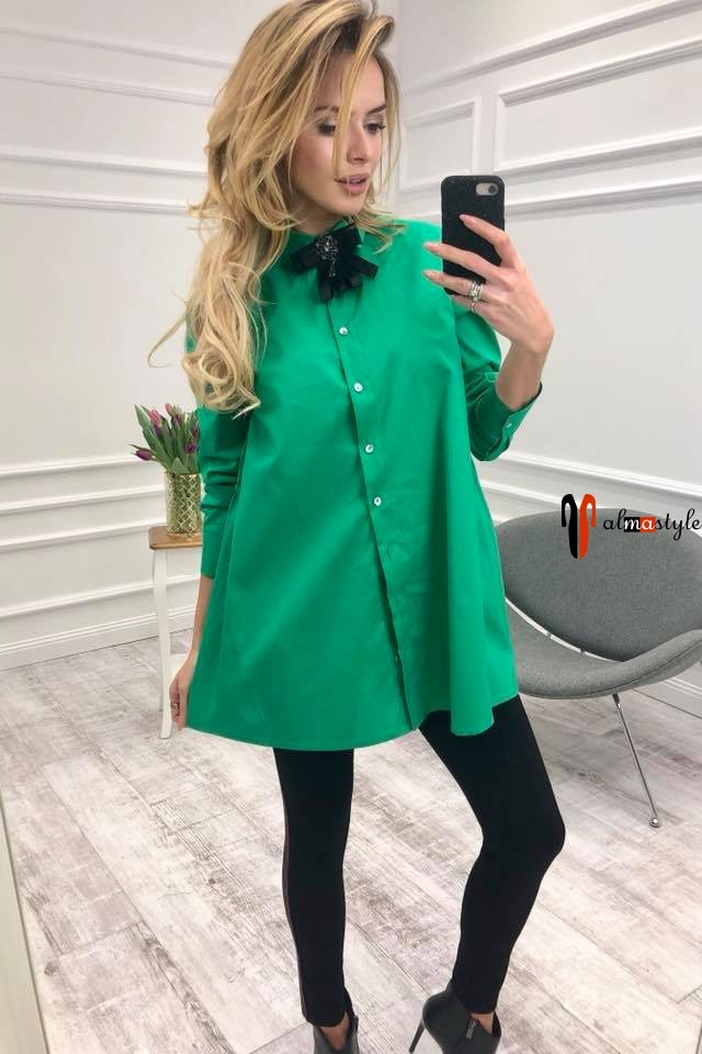 Рубашка длинная, зеленая, оверсайз