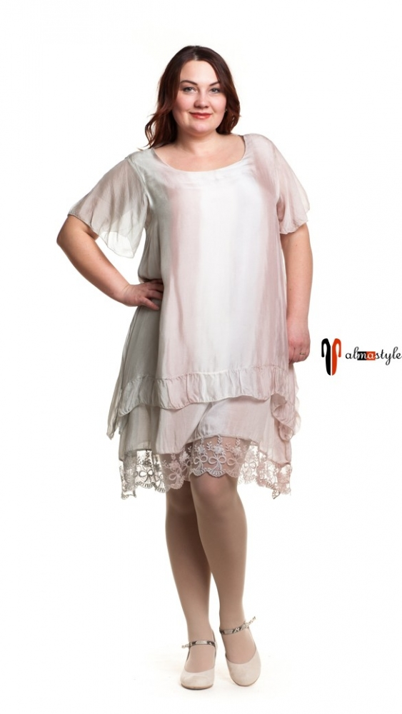 Короткое платье-трапеция из шелка и гипюра