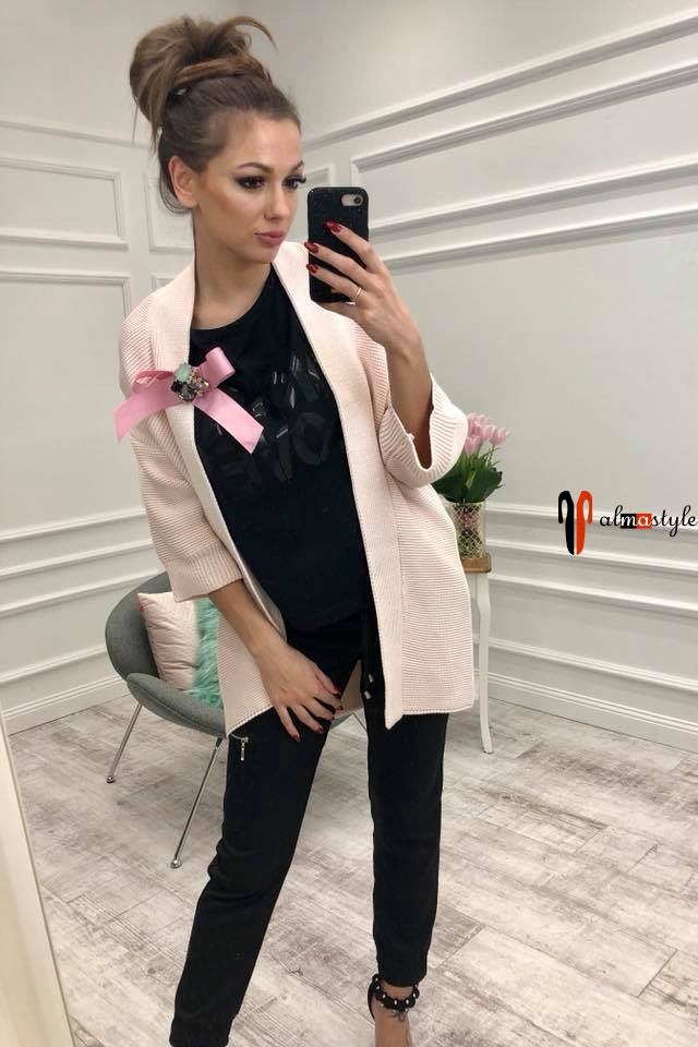 Кардиган на весну, тонкий, розовый, с рукавом