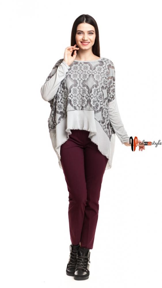 Серая блуза разлетайка из трикотажа и шелка