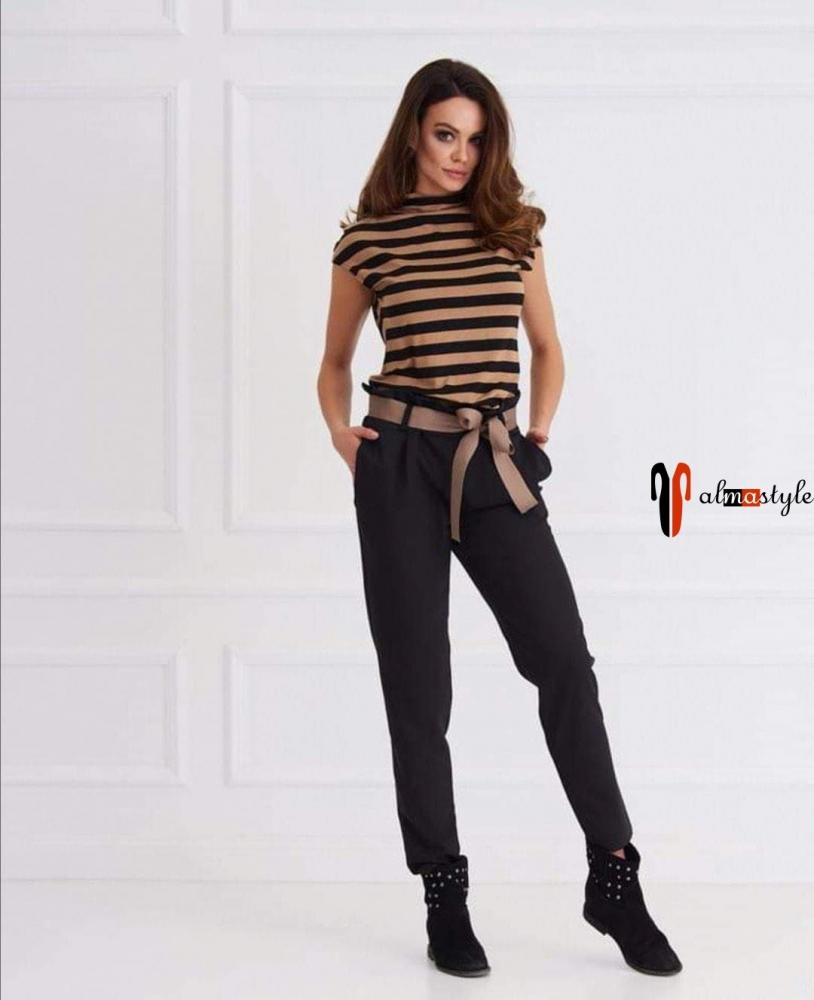 Блуза топ в полоску трикотажный и брюки черные высокая посадка на завязке