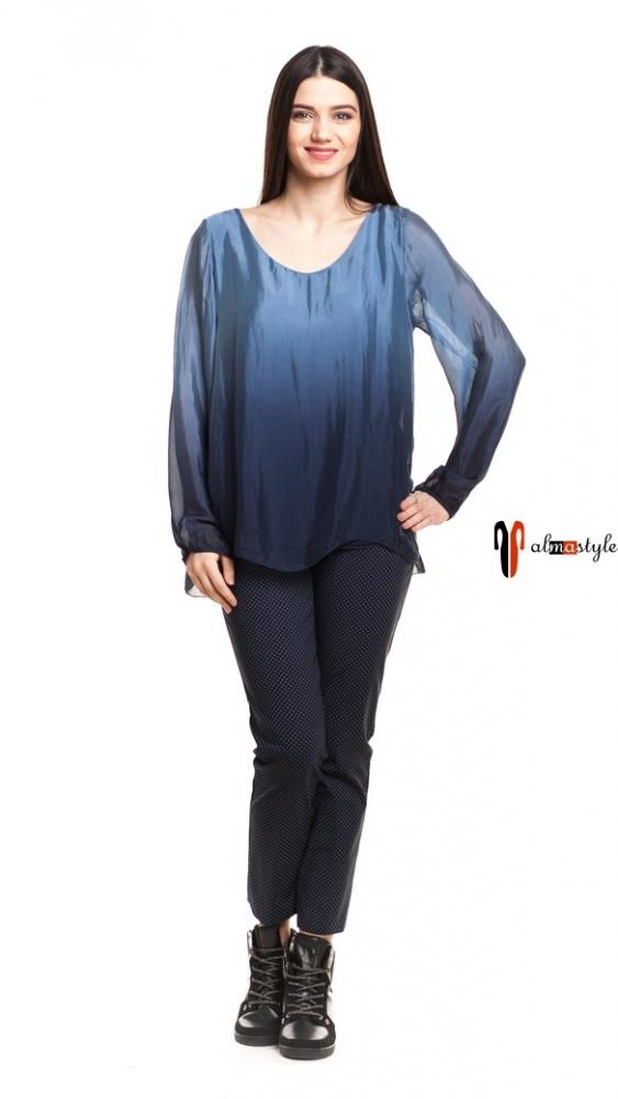 Синяя блуза из шелка и вискозы