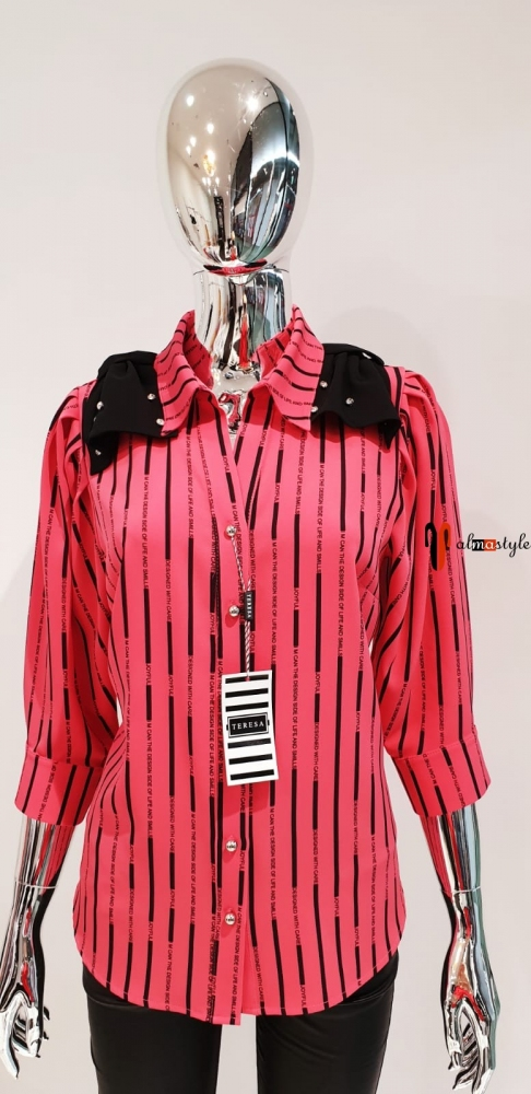 Классическая блузка в полоску коралловый цвет