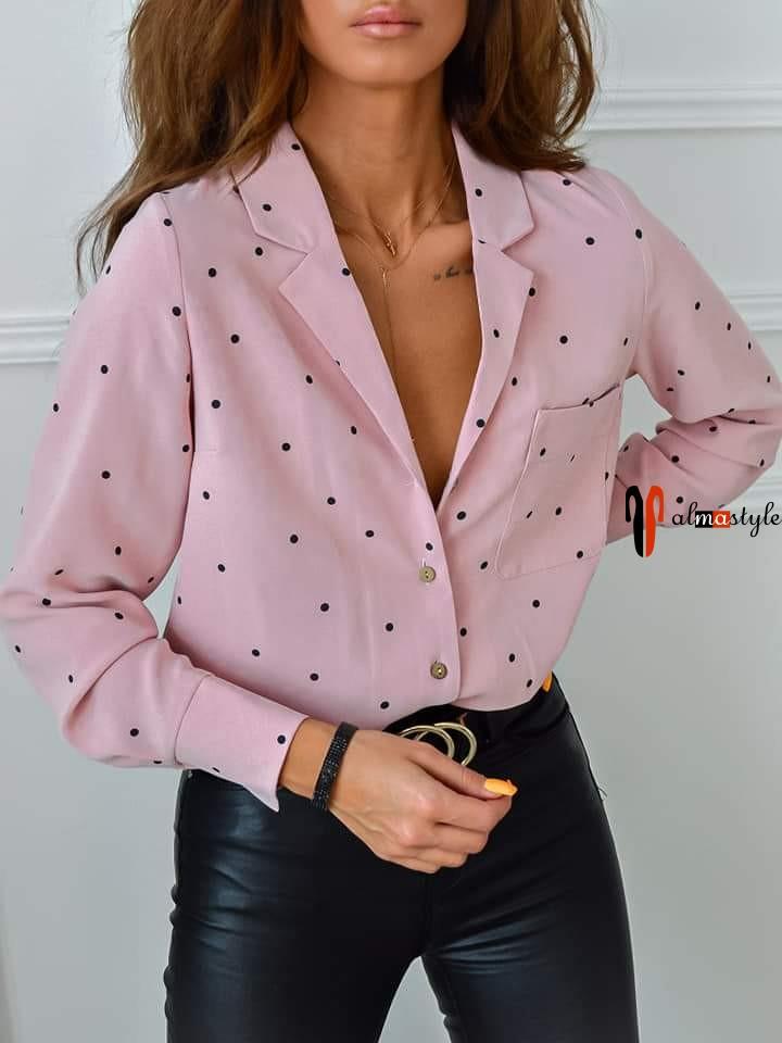 Блуза пижамного стиля розовая в горох