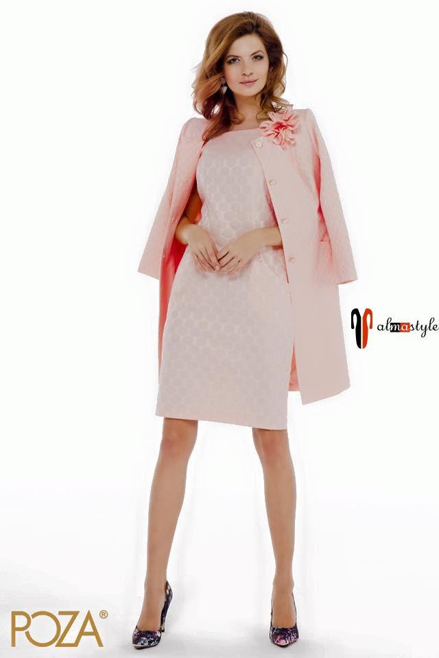 Костюм-комплект из жакета-кардигана и платья нежно розового цвета