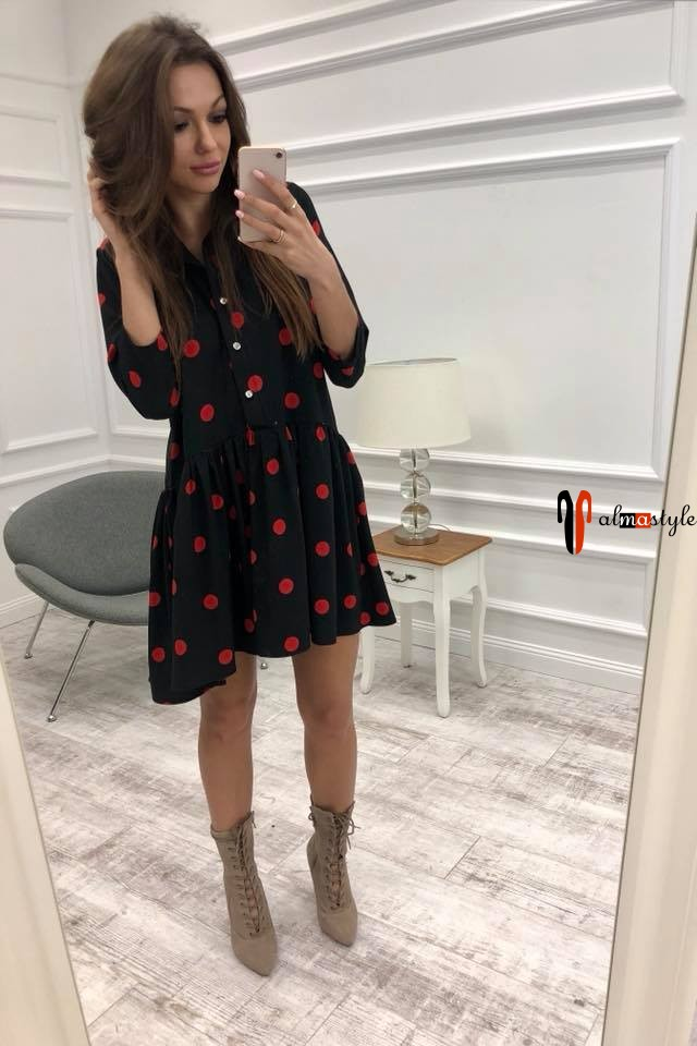 Платье черное, пышное, в горох, красный