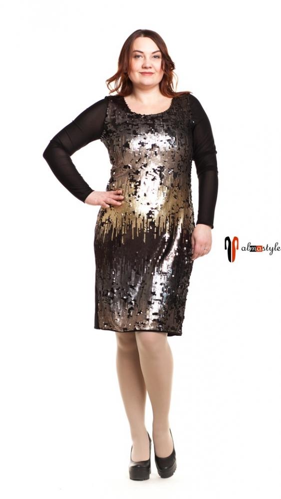Черное платье с золотыми пайетками